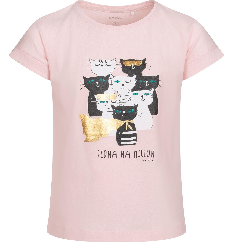 Endo - T-shirt z krótkim rękawem dla dziewczynki, w koty, różowy, 9-13 lat D05G086_2