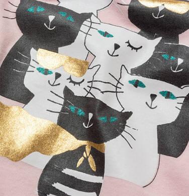 Endo - T-shirt z krótkim rękawem dla dziewczynki, w koty, różowy, 9-13 lat D05G086_2 17