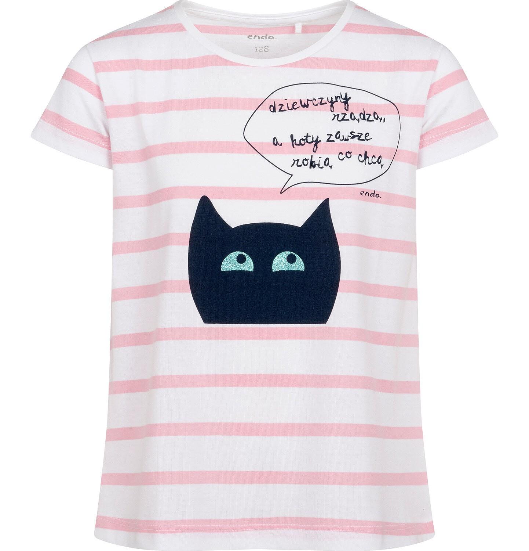 Endo - T-shirt z krótkim rękawem dla dziewczynki, z kotem, biały w paski, 2-8 lat D05G097_1