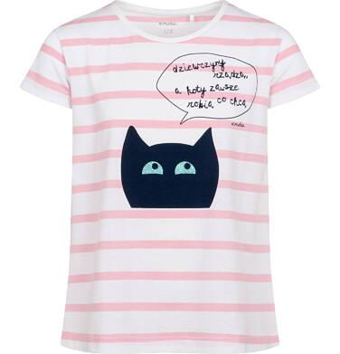 Endo - T-shirt z krótkim rękawem dla dziewczynki, z kotem, biały w paski, 2-8 lat D05G097_1 22