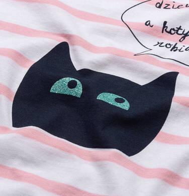 Endo - T-shirt z krótkim rękawem dla dziewczynki, z kotem, biały w paski, 2-8 lat D05G097_1,3