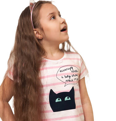 Endo - T-shirt z krótkim rękawem dla dziewczynki, z kotem, biały w paski, 2-8 lat D05G097_1,2