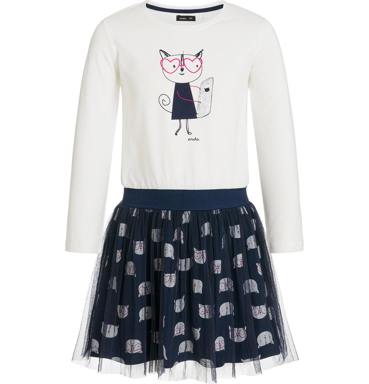 Endo - Sukienka z długim rękawem dla dziewczynki 3-8 lat D92H040_1