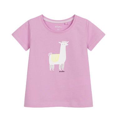 Endo - Bluzka dla dziecka do 2 lat, z lamą, różowa N03G064_1