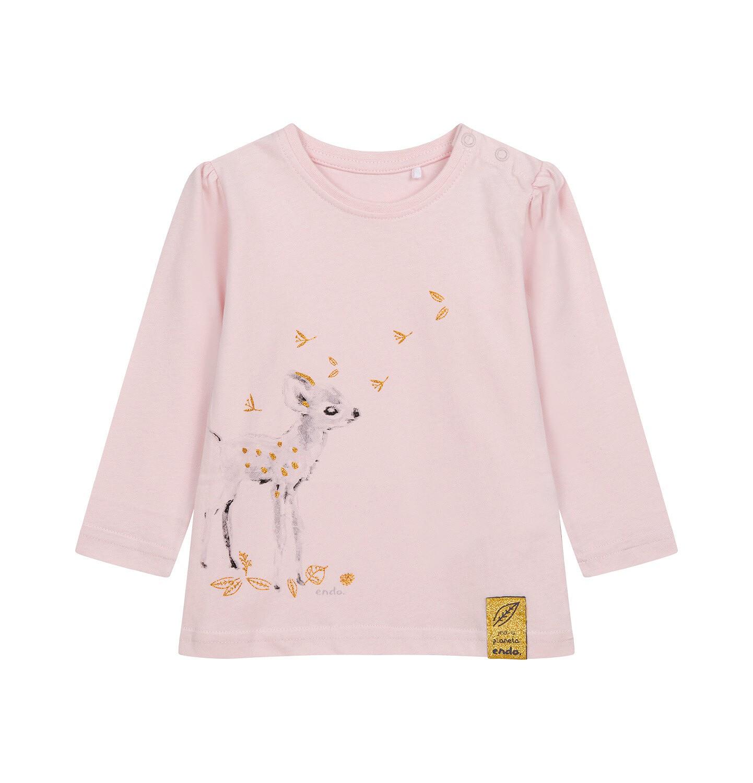 Endo - Bluzka z długim rękawem dla dziecka do 2 lat, różowa N04G021_1