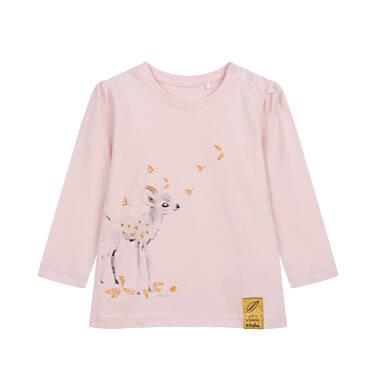 Bluzka z długim rękawem dla dziecka do 2 lat, różowa N04G021_1