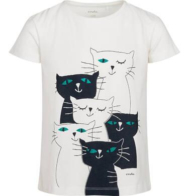 Endo - T-shirt z krótkim rękawem dla dziewczynki, z kotami, kremowy, 2-8 lat D05G100_1 21