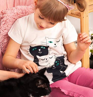 Endo - T-shirt z krótkim rękawem dla dziewczynki, z kotami, kremowy, 2-8 lat D05G100_1 25
