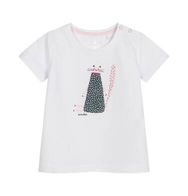 Endo - Bluzka dla dziecka do 2 lat, z kotem, biała N03G065_1
