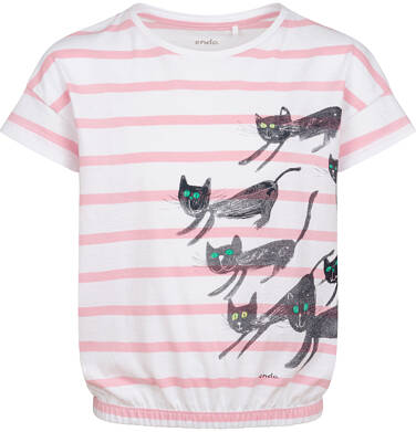 Endo - T-shirt z krótkim rękawem dla dziewczynki, z kotami, biały w paski, 2-8 lat D05G104_1 20