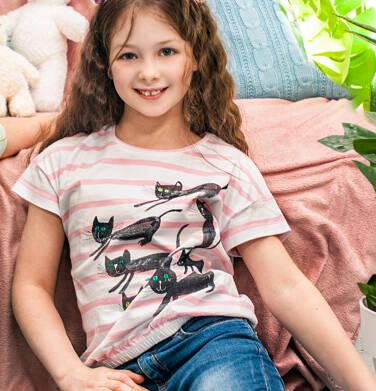 Endo - T-shirt z krótkim rękawem dla dziewczynki, z kotami, biały w paski, 2-8 lat D05G104_1 9