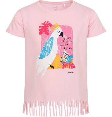 Endo - T-shirt z krótkim rękawem dla dziewczynki, z frędzlami na dole, z papugą, różowy, 2-8 lat D06G093_1 3