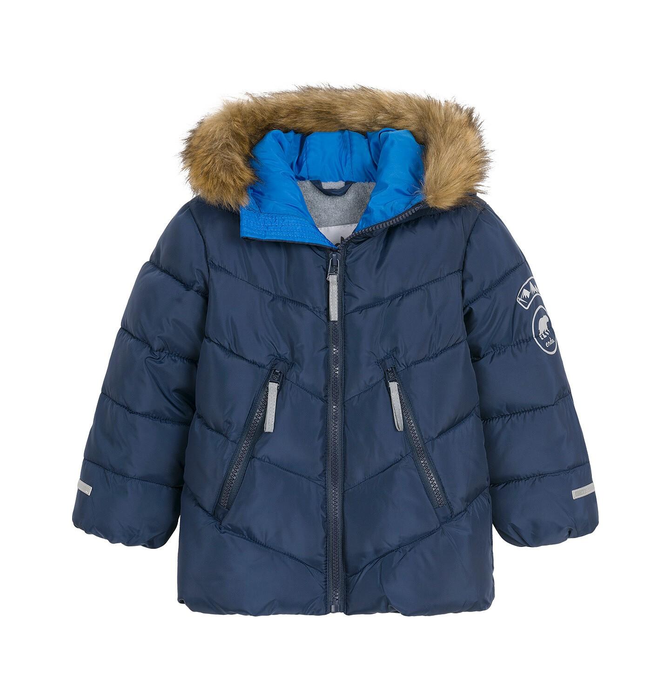 Endo - Kurtka zimowa dla małego dziecka, Charakter doskonały, granatowa, z futrzanym kapturem, ciepła N92A027_2