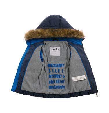 Endo - Kurtka zimowa dla małego dziecka, Charakter doskonały, granatowa, z futrzanym kapturem N92A027_2