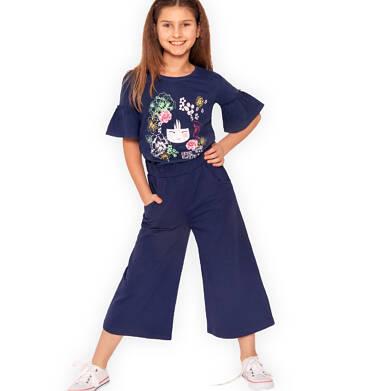 Endo - Spodnie dresowe kuloty dla dziewczynki, granatowe, 9-13 lat D03K544_1