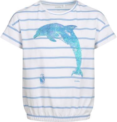 Endo - T-shirt z krótkim rękawem dla dziewczynki, z delfinem, biały w paski, 2-8 lat D05G140_1 19