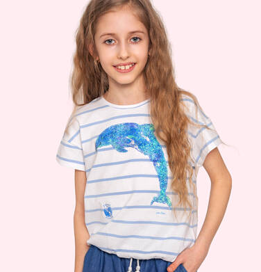 T-shirt z krótkim rękawem dla dziewczynki, z delfinem, biały w paski, 2-8 lat D05G140_1