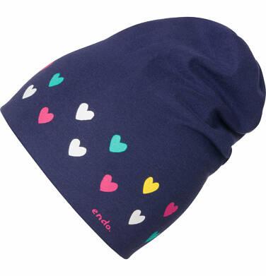 Endo - Czapka wiosenna dla dla dziewczynki, w kolorowe serca, granatowa D03R008_1