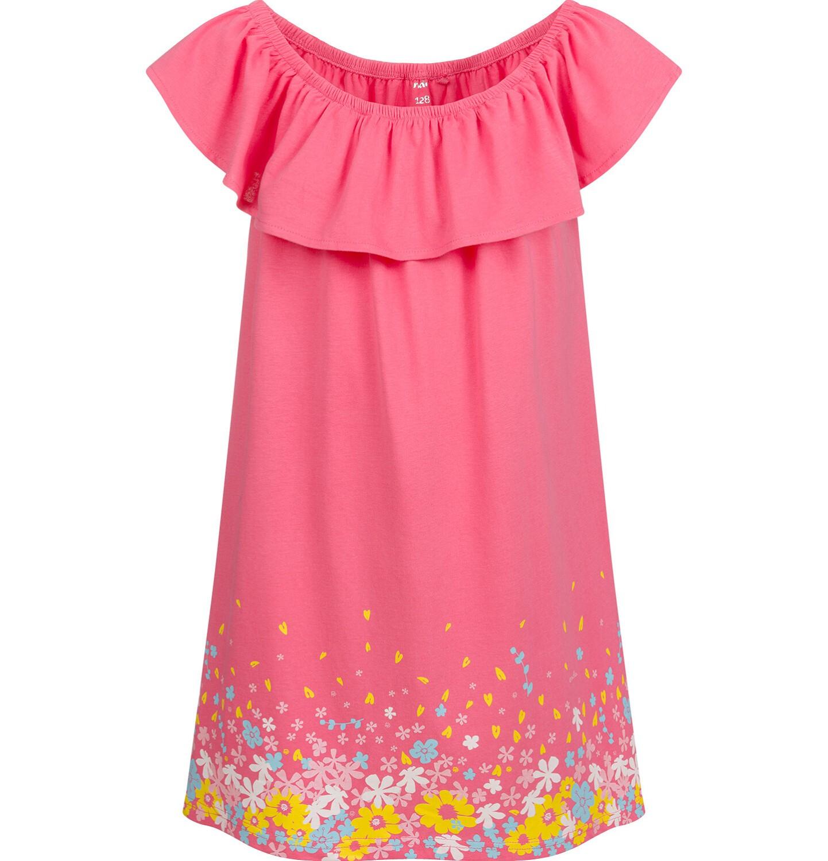 Endo - Sukienka z krótkim rękawem i falbanką, różowa, 2-8 lat D03H019_1
