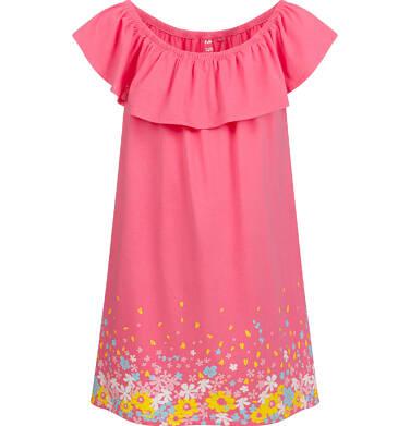 Endo - Sukienka z krótkim rękawem i falbanką, różowa, 2-8 lat D03H019_1 2