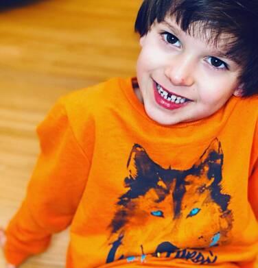 Endo - Bluza dla chłopca, z wilkiem, pomarańczowa, 2-8 lat C04C058_1 12
