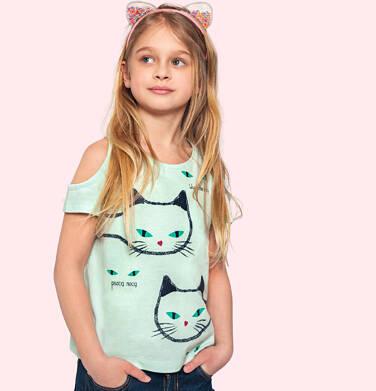 Bluzka z krótkim rękawem i odkrytymi ramionami dla dziewczynki, z kotami, zielona, 9-13 lat D05G089_1
