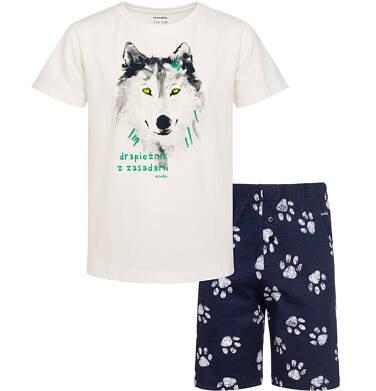Piżama z krótkim rękawem, z wilkiem, kremowa, 2-8 lat C05V024_1