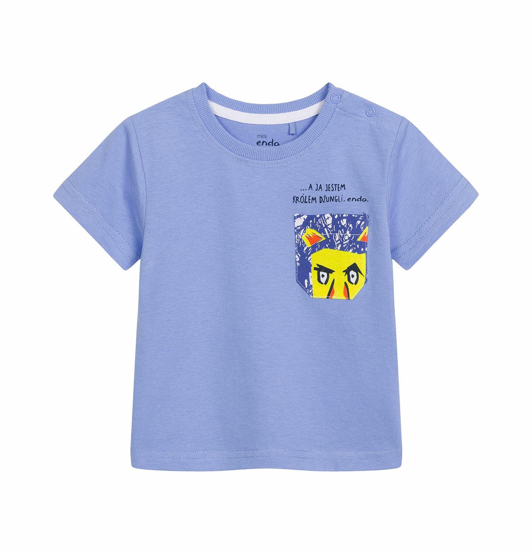 Endo - T-shirt z krótkim rękawem dla dziecka do 2 lat, z kieszonką i nadrukiem, niebieski N03G001_1