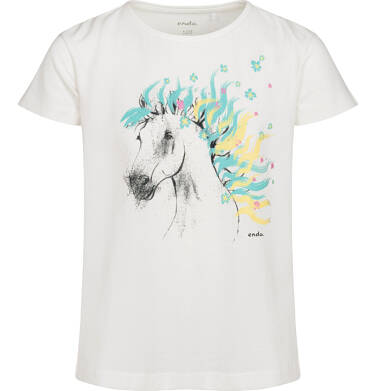 Endo - T-shirt z krótkim rękawem dla dziewczynki, z koniem, kremowy, 2-8 lat D05G154_1 18