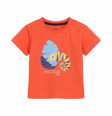 T-shirt z krótkim rękawem dla dziecka do 2 lat, z kameleonem, pomarańczowy N03G004_1