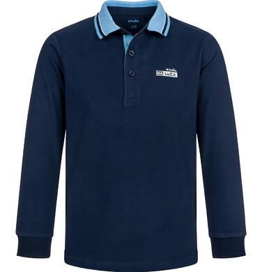 Endo - T-shirt polo z długim rękawem dla chłopca, granatowy, 9-13 lat C03G679_1 21