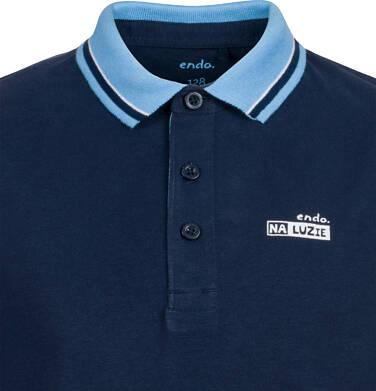 Endo - T-shirt polo z długim rękawem dla chłopca, granatowy, 9-13 lat C03G679_1 2