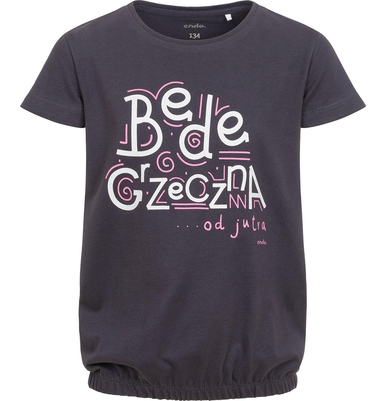 Endo - T-shirt z krótkim rękawem dla dziewczynki, z napisem będę grzeczna od jutra,  grafitowy, 9-13 lat D06G158_1