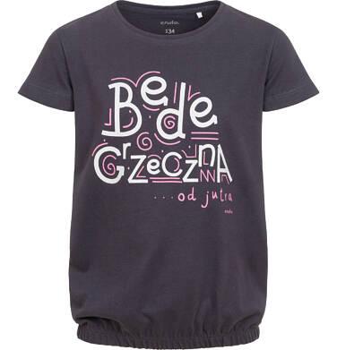 Endo - T-shirt z krótkim rękawem dla dziewczynki, z napisem będę grzeczna od jutra,  grafitowy, 9-13 lat D06G158_1,1