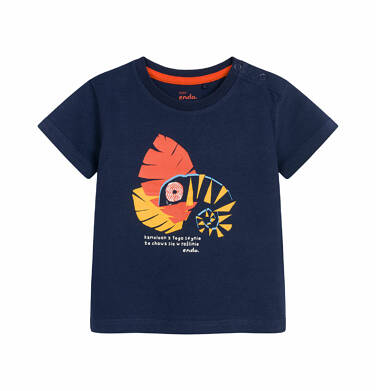 Endo - T-shirt z krótkim rękawem dla dziecka do 2 lat, z kameleonem, granatowy N03G004_2 15