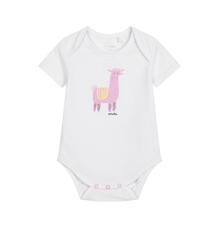 Endo - Body z krótkim rękawem dla dziecka do 2 lat, z alpaką, białe N03M021_1