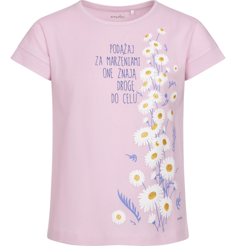 Endo - T-shirt z krótkim rękawem dla dziewczynki, w stokrotki, różowy, 9-13 lat D05G160_1
