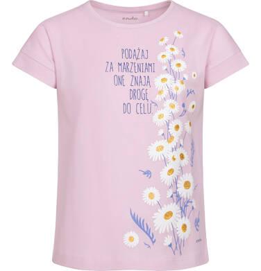 Endo - T-shirt z krótkim rękawem dla dziewczynki, w stokrotki, różowy, 9-13 lat D05G160_1 23