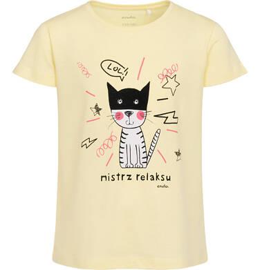 Endo - T-shirt z krótkim rękawem dla dziewczynki, z kotem, żółty, 9-13 lat D06G504_1 5
