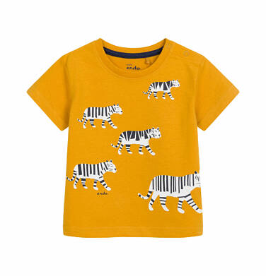 T-shirt z krótkim rękawem dla dziecka do 2 lat, z tygrysem, ciemnomusztardowy N03G005_1