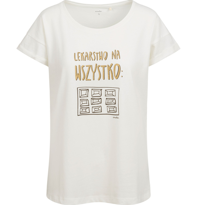 Endo - T-shirt damski, z czekoladą, biały Y03G005_1