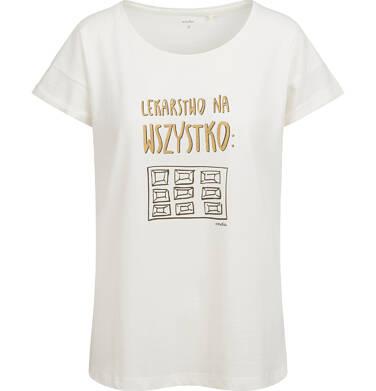 Endo - T-shirt damski, z czekoladą, biały Y03G005_1,1