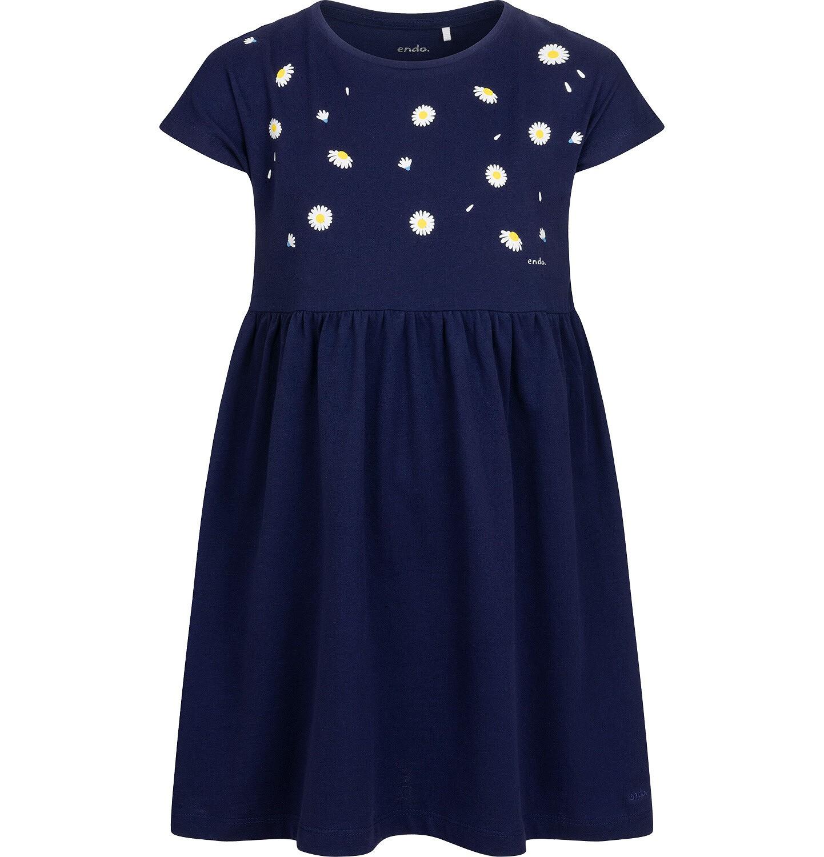 Endo - Dżersejowa sukienka z krótkim rękawem, granatowa w stokrotki, 9-13 lat D05H005_1