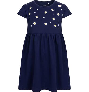 Dżersejowa sukienka z krótkim rękawem, granatowa w stokrotki, 9-13 lat D05H005_1