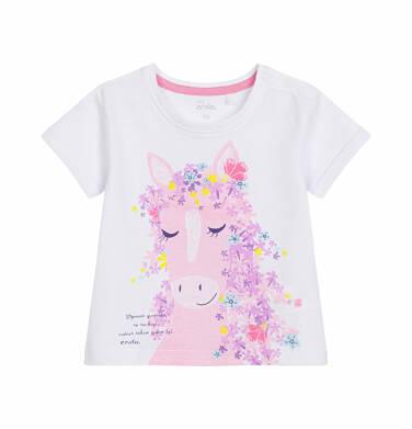 Endo - Bluzka z krótkim rękawem dla dziecka do 2 lat, cudnie takim cudem być, biała N03G016_1
