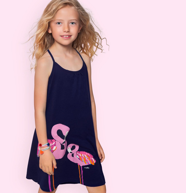 Endo - Letnia sukienka na ramiączkach, z flamingami, granatowa, 2-8 lat D06H011_1