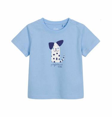 T-shirt z krótkim rękawem dla dziecka do 2 lat, piesek - przytulasek, niebieski N03G028_1