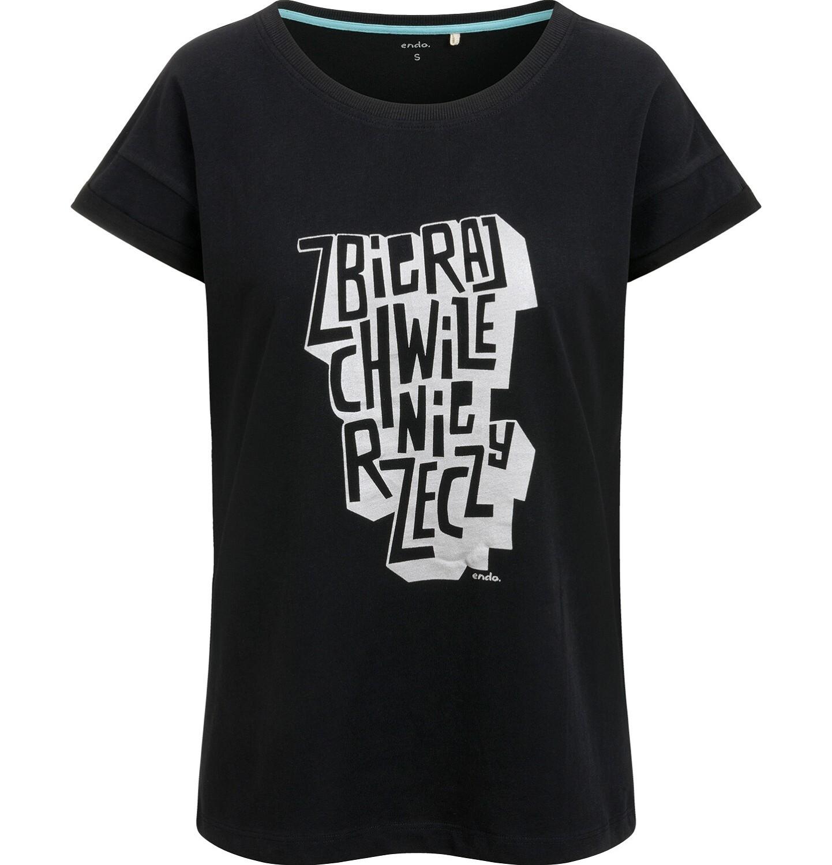 Endo - T-shirt damski, z napisem, czarny Y03G010_1