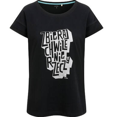 T-shirt damski, z napisem, czarny Y03G010_1