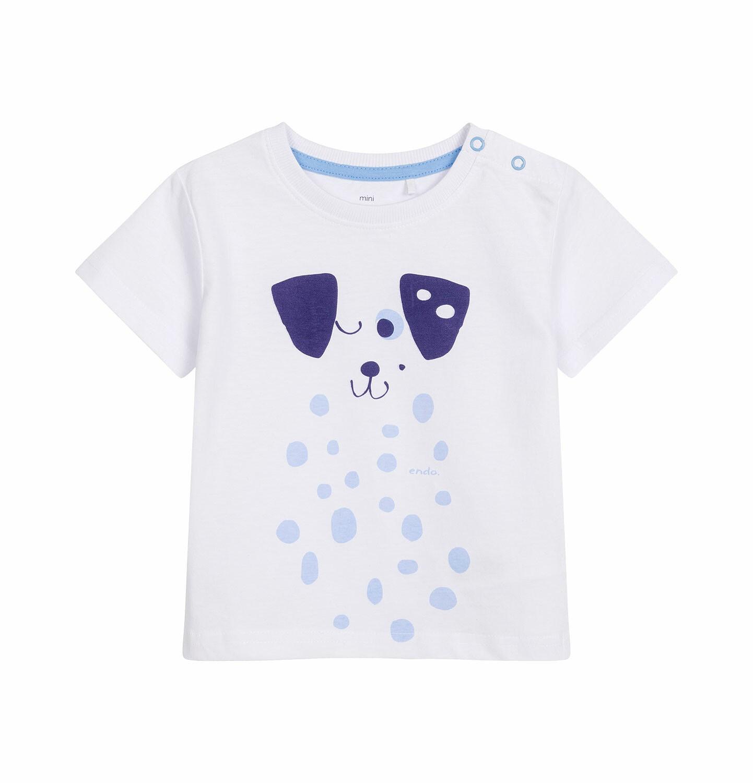 Endo - T-shirt z krótkim rękawem dla dziecka do 2 lat, z psem w kropki, biały N03G029_1